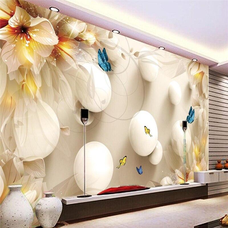 Beibehang Mural Salon Lily Papillon Balle Murales De Pared Papier ...