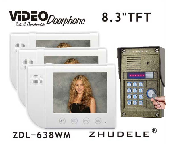 ZHUDELE Video Interphone Home Security 8.3Video Door Phone+Metal HD Camera with With Password & ID Card unlocking function 1v3