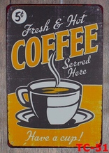 1pc Coffee cappuccino shop Latte cafe plaques Tin Plate Sign wall man cave Decoration Poster metal vintage retro shabby garage
