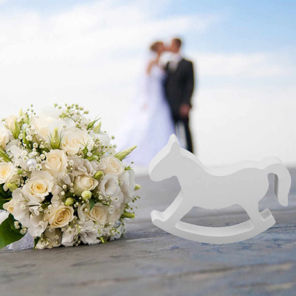 Figurines & Miniatures Wooden Rocking Horse Trojan Wedding Ornament Baby Kids Room Party Decor White Drop shipping July27