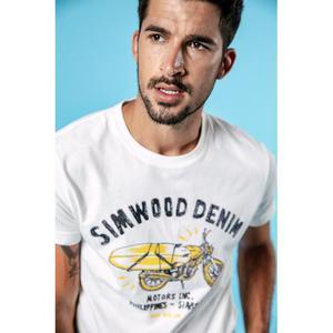 Image 2 - SIMWOOD 2020, Camiseta con estampado de motocicleta, letra a la moda para hombre, 100% de algodón, cuello redondo, ropa de marca de gran calidad de talla grande