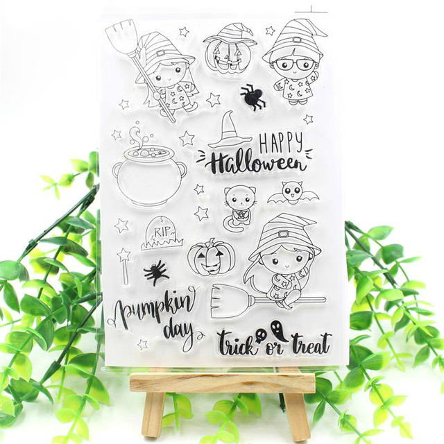 Happy Halloween Transparent Clear Silicone Stamps for DIY Scrapbooking/Card Making/Kids Christmas Fun Decoration Supplies 239