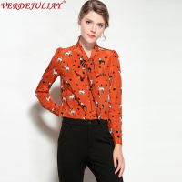 Female Office Blouses UK Top Grade Fashion 2018 New Spring Animal Print Bow Collar Single Breasted Orange Hot Slim Silk Blouse