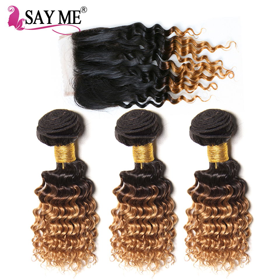 SAY ME Deep Wave Bundles With Closure Ombre Brazilian Human Hair 3 Bundles With Closure 1B/27 Remy Short Bob Blonde Hair Weave-in 3/4 Bundles with Closure from Hair Extensions & Wigs    1