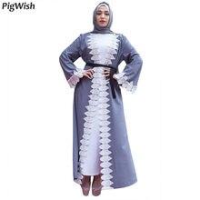 2018 Dress Muslim Women Eid Party Lace Abaya Elegant Islam Clothes Dubai  Caftan Turkish Moroccan Plus a00186aabd1b