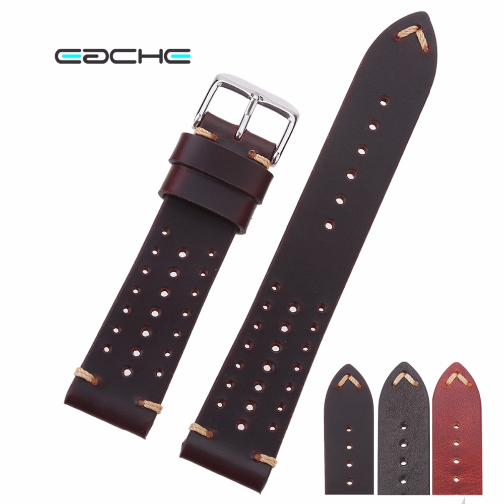 EACHE Popular Special Hole Design Watch Bands Genuine Calfskin Leather Racing Band Watchband Straps 18mm 20mm 22mm eache suede design special