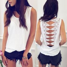 2019 Women's Summer Sexy Back Low-Cut T-ShirtLace Hollow Out Tank Top Sleeveless Camisole Tops Vest