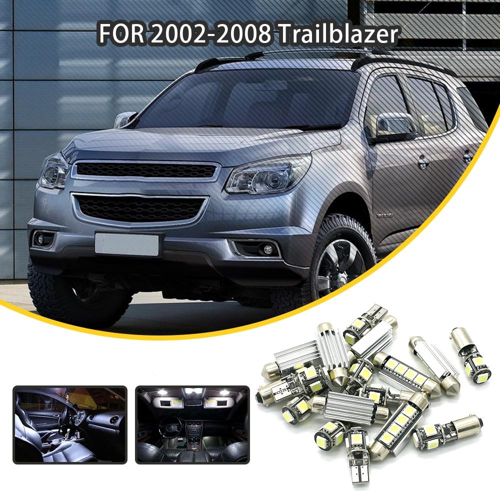 Loaut 16pcs White Car Led Light Bulbs Interior Package Kit For Chevrolet 2002 2008 Trailblazer Dome Lights Map