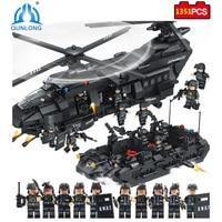 1351pcs Large Building Blocks Sets SWAT Team Transport Helicopter Compatible Legoed SWAT City Police Gift Toys