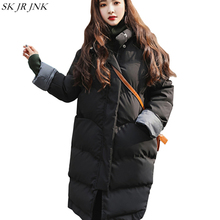 Thicken Warm Women Stand Collar Wadded Parka 2017 Winter New Fashion Long Sleeve Padded Jacket Casual Plus Size Long Coat HCY73