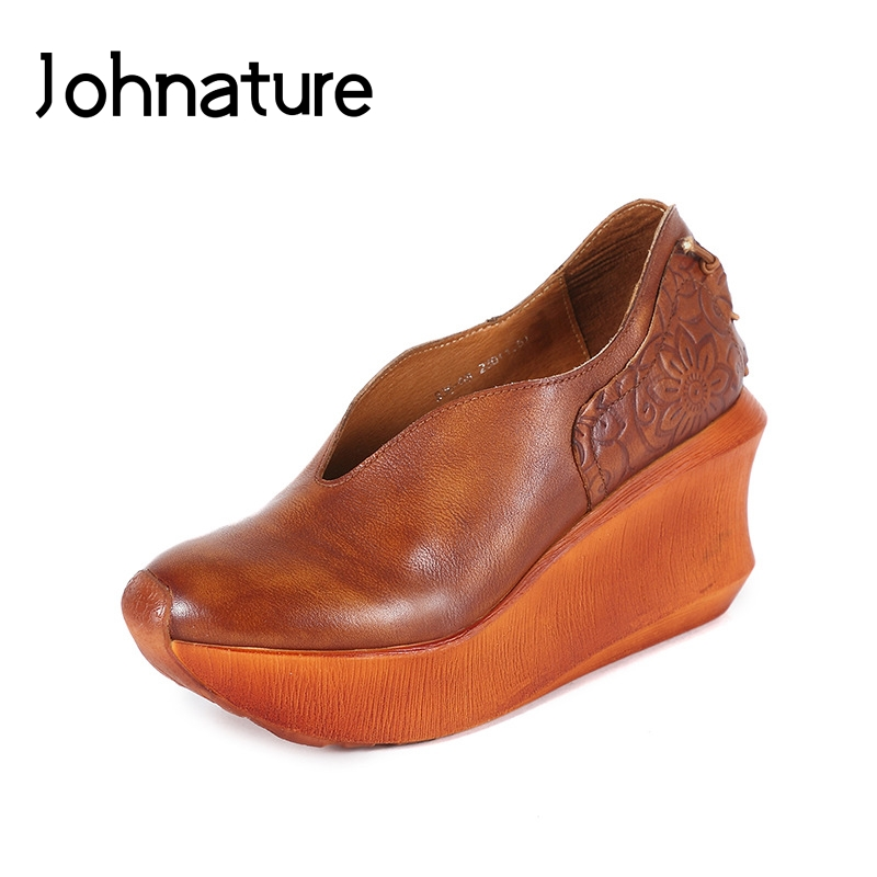 Johnature 2019 Spring Autumn Thick Sole Leather Shoes Comfortable Breathable Hand made Retro Women Shoes Pumps
