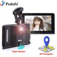 Podofo 7 Car DVR GPS Navigation Radar Detector Android WIFI FM Touch Screen Dash Cam Tablet