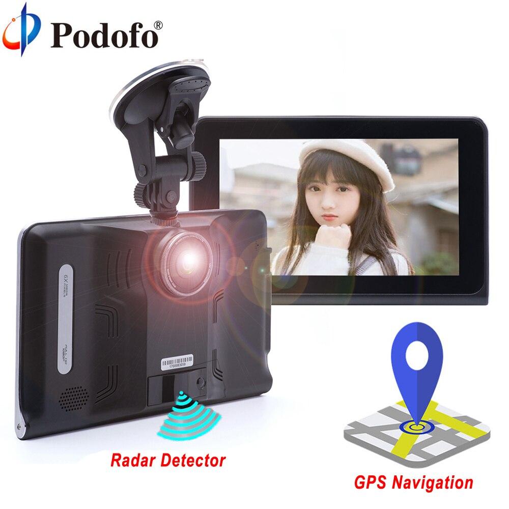 Podofo 7 автомобильный dvr gps навигационный радар-детектор Android wifi FM сенсорный экран Dash Cam планшетный ПК Автомобильный видео регистратор Регистр...