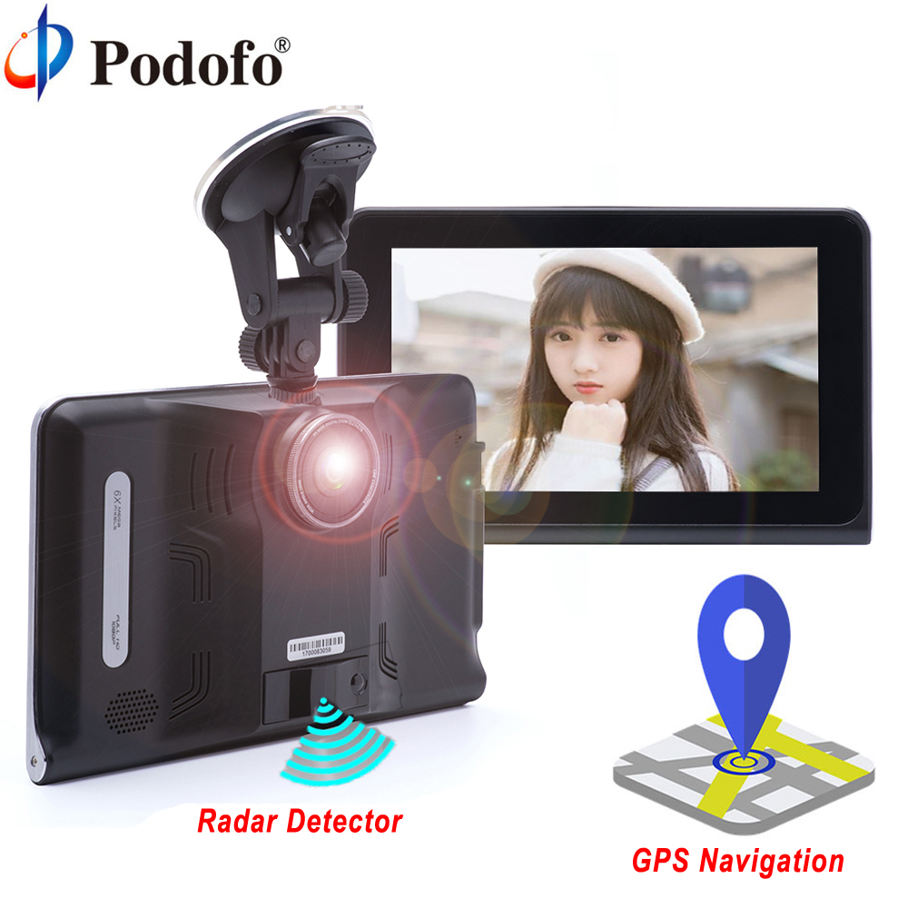 Podofo 7 Car DVR GPS Navigation Radar Detector Android WIFI FM Touch Screen Dash Cam Tablet PC Car Video Recorder Registrar bigbigroad for nissan qashqai car wifi dvr driving video recorder novatek 96655 car black box g sensor dash cam night vision