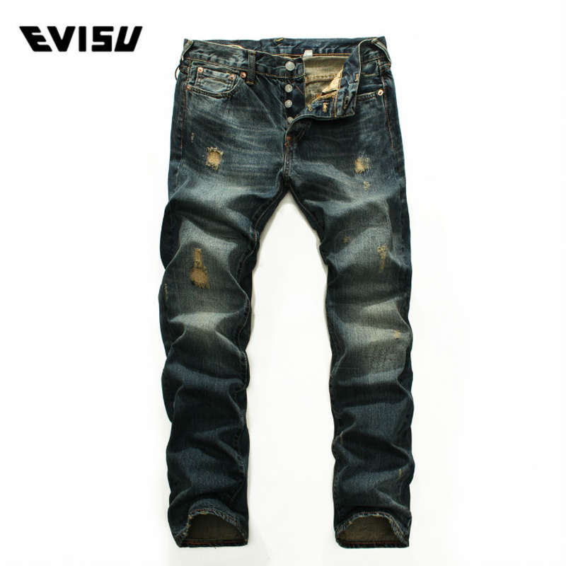 Evisu 2018 New Men's Denim   Jeans   Spring Summer Fashion Casual Trousers Men Classic Scratched Hole Hip Hop Long Pants 9216