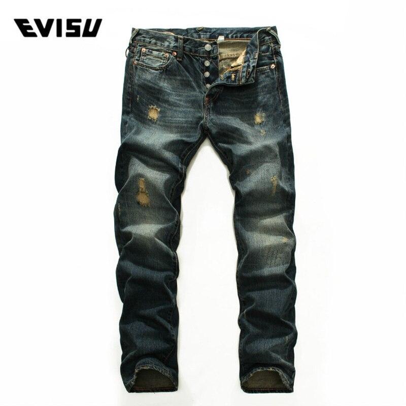Evisu 2018 del Denim dei Nuovi Uomini Dei Jeans Primavera Estate di Modo Casual Pantaloni Uomo Classic Graffiato Foro Hip Hop Pantaloni Lunghi 9216