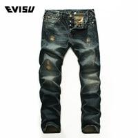 Evisu 2018 New Men's Denim Jeans Spring Summer Fashion Casual Trousers Men Classic Scratched Hole Hip Hop Long Pants 9216