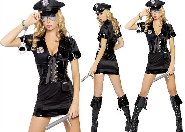 Women Sexy Cop Costume Flirting Coquette Halloween 6 Parts Stop Traffic Police Officer Costume for Adult
