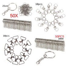 10/10/100 Pcs Polished Silver Color Keyring Keychain Split Ring With Short Chain Key Rings Women Men DIY Key Chains Accessories(China)