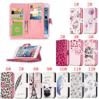 Luxury Wallet Card Stand Flip Leather Cover Printed Case And 9 Card For Apple IPhone 6s