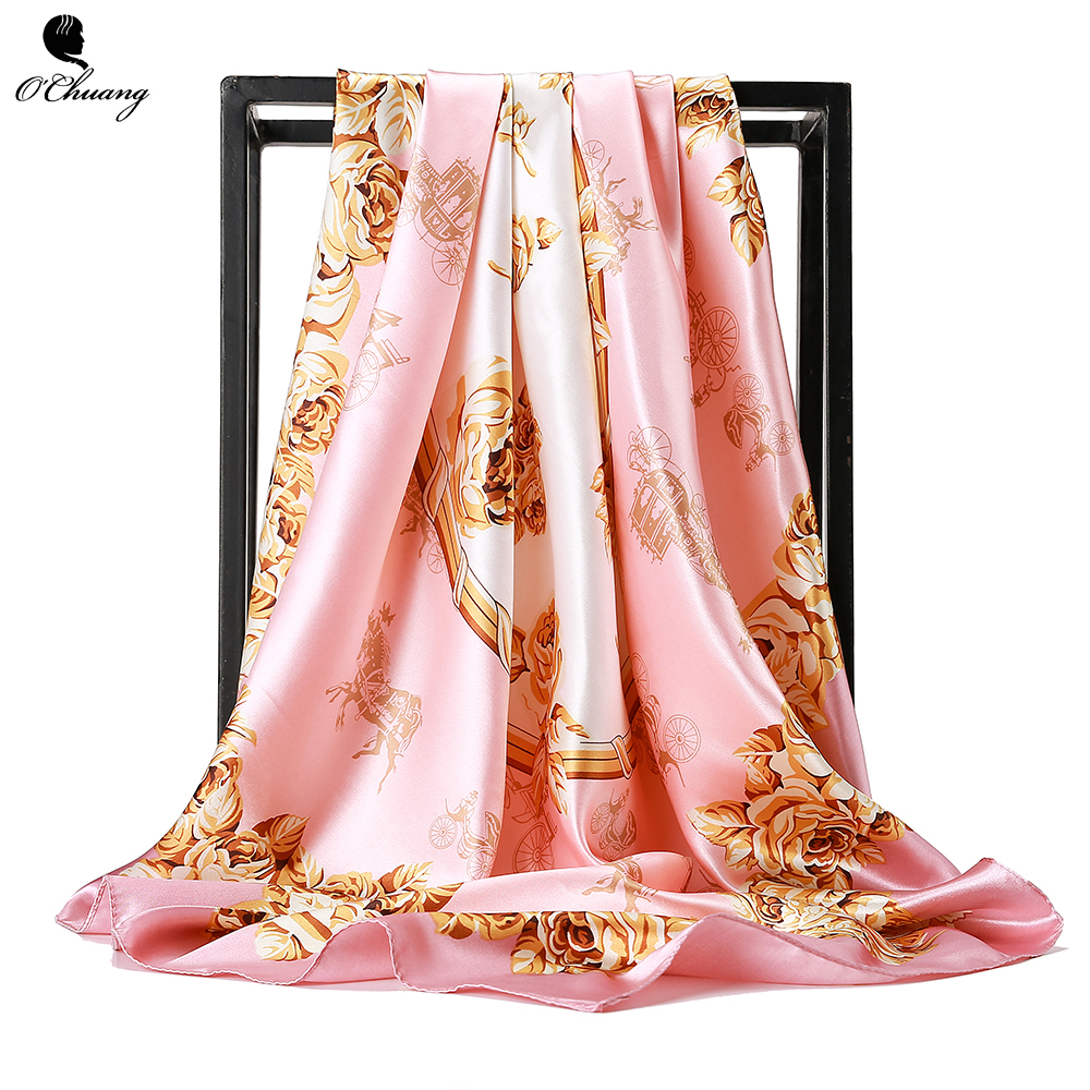 O CHUANG Women Large Square Silk Scarf Printed 90*90cm, Fashion Spring And Autumn Polyester Satin Silk Scarves Head Womens Shawl