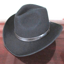 Unisex Black Wool Cowboy Western Wide Brim Adventurer Safari Hat - ON PROMOTION