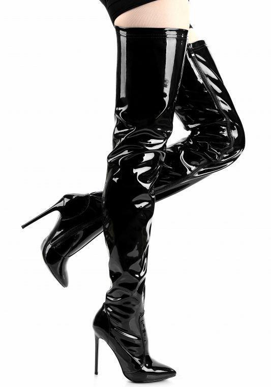 Spitz black Hohe Heels Für Große Oberschenkel Stiefel Über Knie Lange Die Shiny Dünne Super Black Frauen Schuhe Boot Größen Matt 2018 Sexy xtPqZR7B