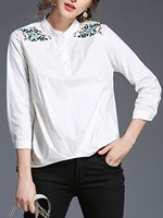 Work Blouse Embroidered Long Sleeve Button Band Collar Crinkle Shirt Casual Office Floral Tops