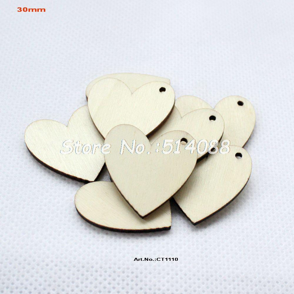Wooden crafts to paint -  100pcs Lot 30mm One Hole Unfinished Blank Wooden Heart Crafts Supplies Paint Wedding