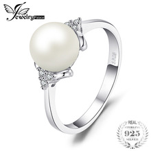 JewelryPalace Luxury 8mm*8mm Freshwater Cultured Pearl Engagement and Wedding Ring 925 Sterling Silver Fine Jewelry For Women