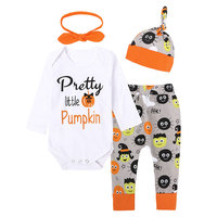 Autumn Halloween Baby Clothing 4pcs Infant Cute Baby Girls Clothes Bodysuit And Long Pants Hallowmas Outfit