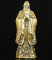 Collectible Old Handwork Carving Bronze China Educator Ancient Confucius Statue