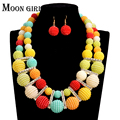 2016 MOON GIRL NEW acrylic beads making choker african Nigeria Wedding beads jewelry set statement necklace sets for women