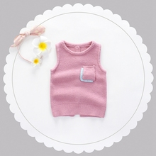 Autumn Infant Baby Solid Pocket Knitwear Sleeveless Pullover Vest Waistcoat Girls Outerwear Coat Kids Clothes