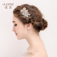 Gold Flowers Rhinestone Crystals Wedding Hair Accessories Bride Bridal Floral Hair Comb Head Pieces Wedding Hair