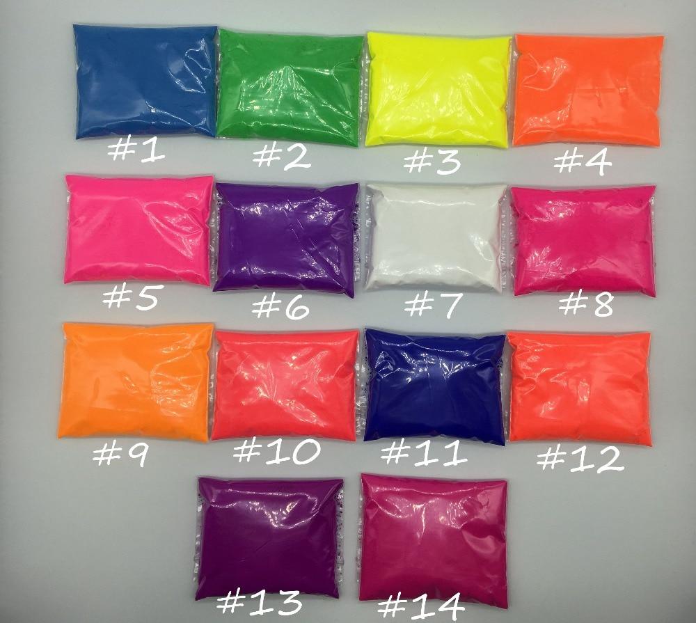 140 Gr/los 10g Pro Farbe Fluoreszierende Pulver Pigment Für Farbe Seife Neon Pulver Nail Art Polnischen Ehrgeizig Mixed 14 Farben