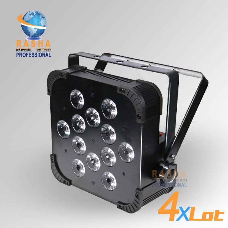 4X LOT Rasha Quad Factory Price 12*10W RGBA/RGBW 4in1 Non-Wireless LED Flat Par Can,Disco LED Par Light For Stage Event Party 20x lot rasha quad 7pcs 10w rgba rgbw 4in1 dmx512 led flat par light wireless led par can for disco stage party