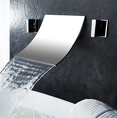 Contemporary Designed Chrome Brass Waterfall Bathroom Basin Faucet Dual Handles Mixer Tap Wall Mounted