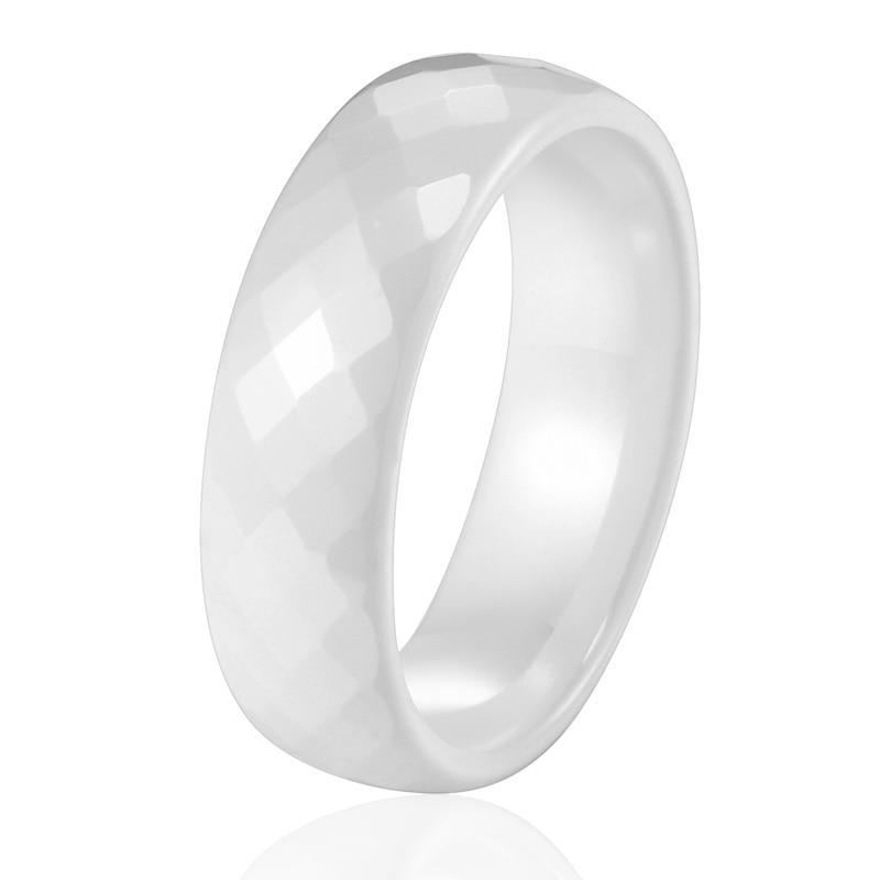 6MM-8MM Wide Rings Comfort Fit Multi Faceted Women White Black Ceramic Ring Engagement Brand Ceramic Jewelry Bague Ceramic Femme