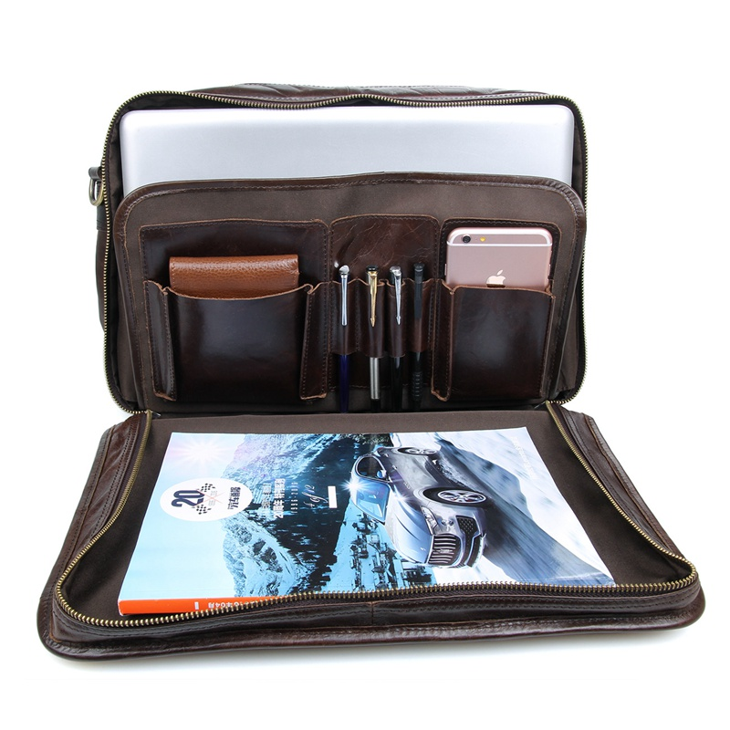 J M D 100 Genuine Cow Leather Briefcases Top Handle Laptop Bag Men 39 s Handbag 7345C in Briefcases from Luggage amp Bags