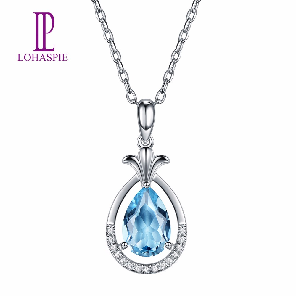 Lohaspie Diamond-Jewelry Natural Gemstone Aquamarine 18K White Gold Pendant For March Birthday Gift Fashion W/ Silver Chain New