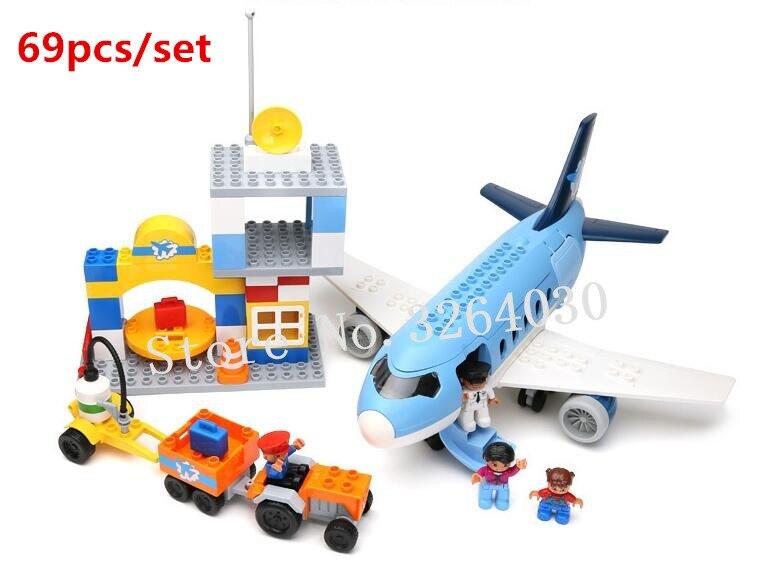 GOROCK Duploe 69pcs Large bricks Airport big Airplane city set big building blocks toy Baby Gift