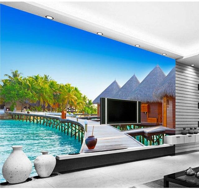 Maldive sea island casa paesaggio di sfondo 3D carta da parati ...