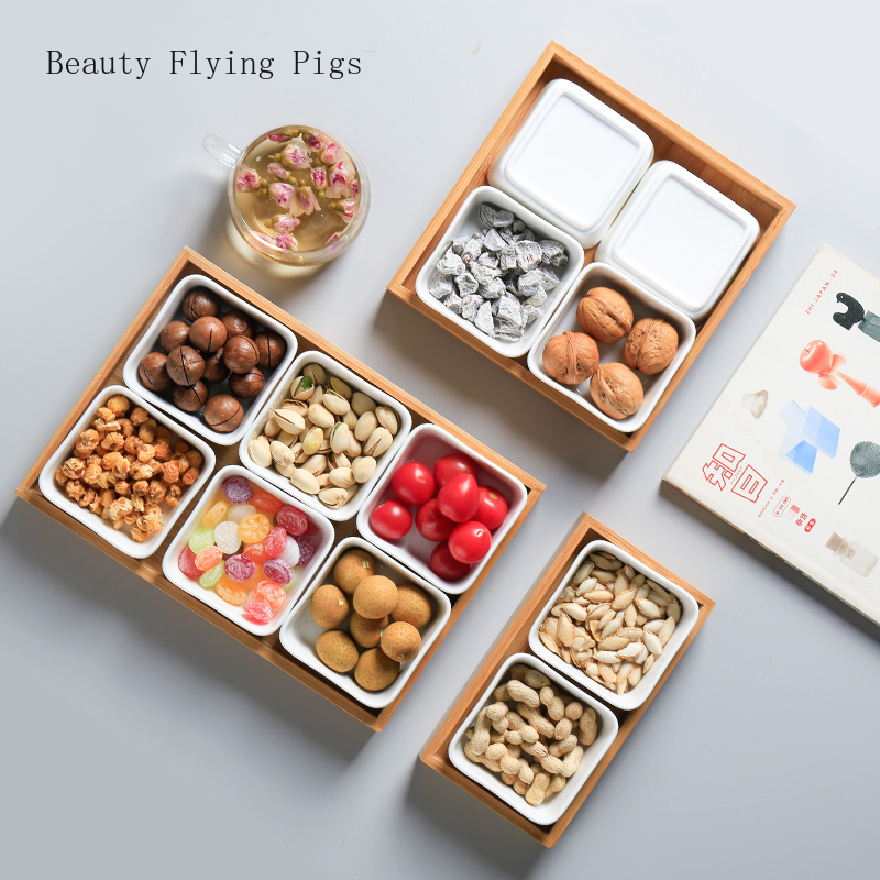 Simple Japanese ceramic snack plate dried fruit plate with wood tray living room candy melon nuts mixed box snacks storage box|Dishes & Plates| |  - title=