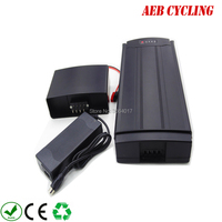 EU US free shipping and taxes 36V 10Ah rear rack battery Li ion electric bike battery with charger for city bike