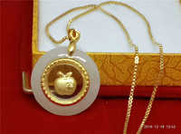 Koraba New 24k Gold Inlaid Natural Chinese White Jade Apple Pendant Necklace Jewelry Gift  Sterling Silver Necklace