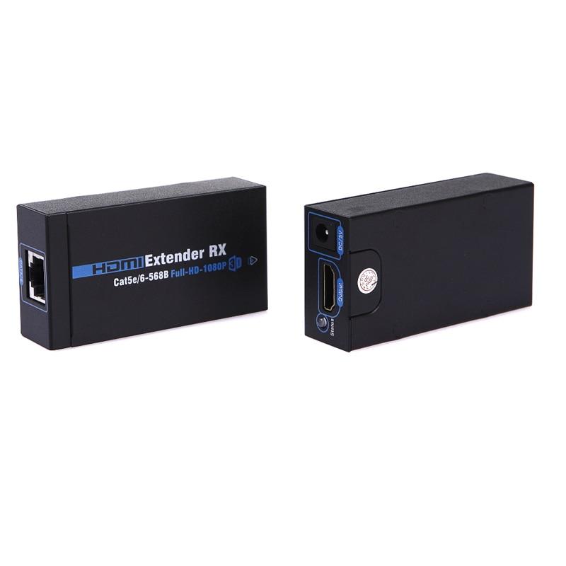 Новые высокой четкости 1080p HDMI удлинитель 60м передатчика и приемника над cat5e/э кабель RJ45 поддержка локальной сети HDMI 3D и ЕС/Великобритания/AU/США Plug