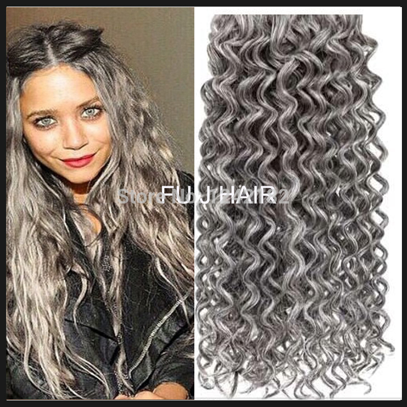 Hot Sale Silver Grey Hair Extensions 1PCSLOT Human Grey