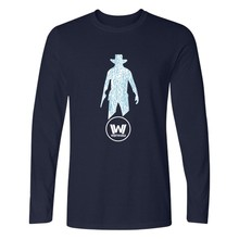 TV Series Westworld Printing Cotton Long Sleeve T-shirts And Plus Size Hot Sale West World Pullover Long T Shirt Men Clothe