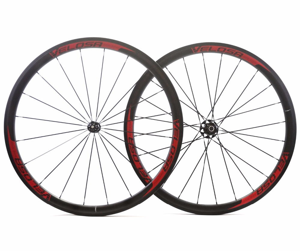 VELOSA! 700C 38mm depth Road carbon wheels Urltra-Light 25mm width Clincher bicycle Climbing carbon fiber wheelset with R51 hub velosa 700c 60mm depth road carbon wheels 25mm width tubular clincher bike carbon fiber wheelset ud matte finish free shipping